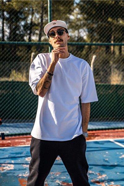 Erkek Oversize Beyaz T-shirt