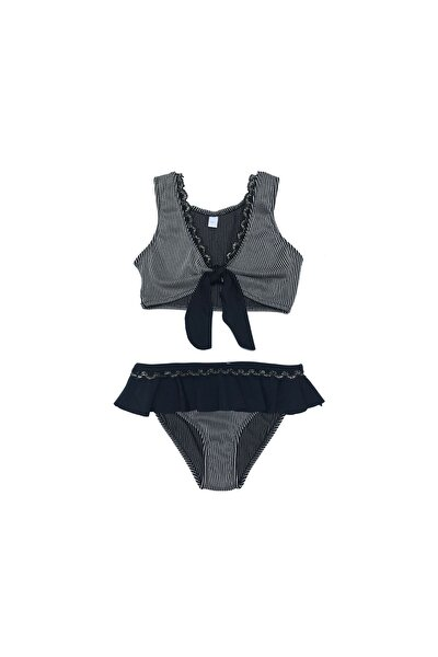 Kız Çocuk Siyah Fırfırlı  Bikini Takımı