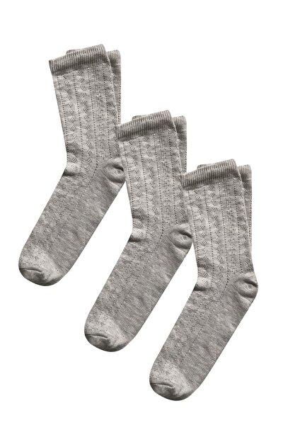 Kendinden Desenli 3lü Kadın Çorap 36-40 Numara - Gri
