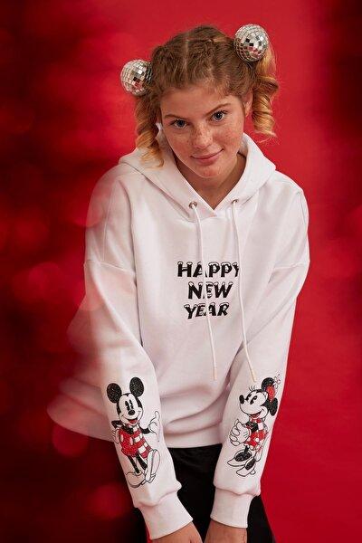 Mickey Mouse Baskılı Kapüşonlu Lisanslı İçi Polarlı Sweatshirt