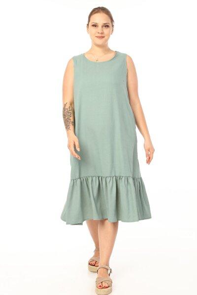 Kadın Yeşil Büyük Beden Kolsuz Elbise