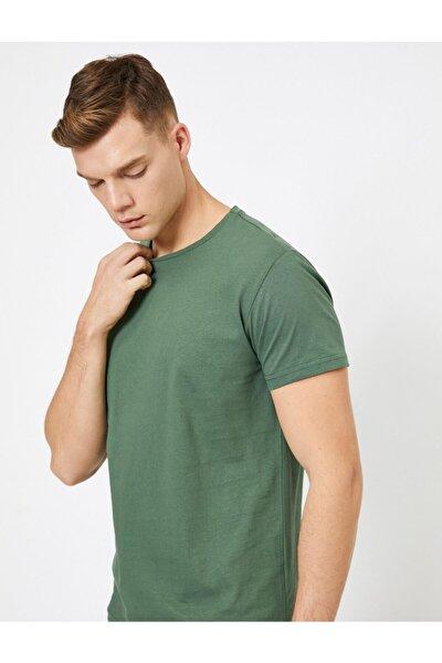 Erkek Yeşil Bisiklet Yaka T-Shirt 0YAM12136LK