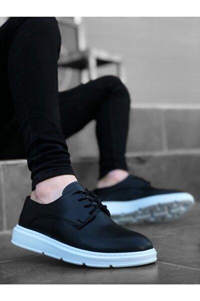 Erkek Siyah Beyaz Yüksek Taban Bağcıklı Klasik Casual Ayakkabı