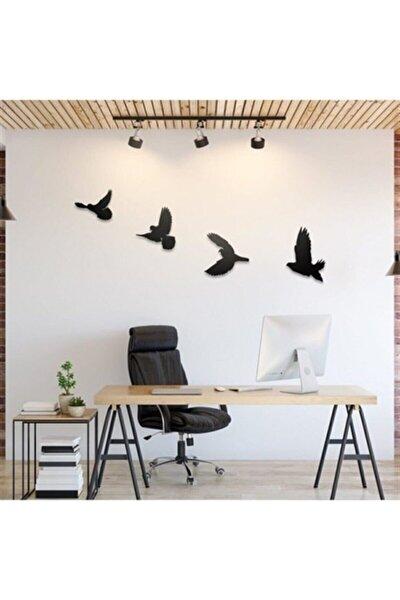 Siyah Dekoratif Ahşap Dörtlü Kuş Duvar Süsü Dekoru
