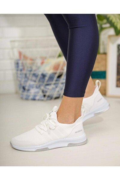 Kadın Beyaz Spor Triko Sneaker Ayakkabı