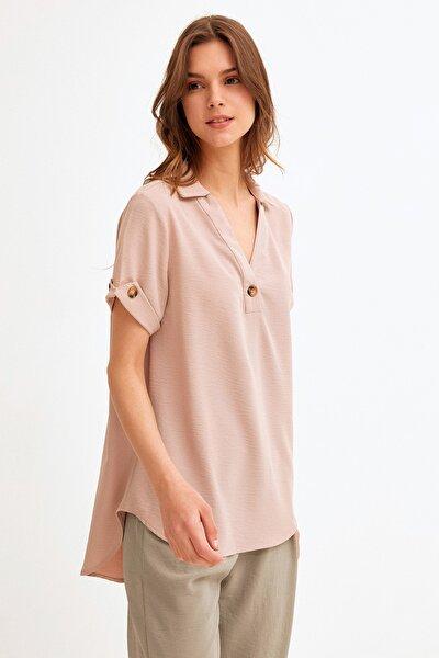 Kadın Taş RengiDuble Kol Oval Kesim Bluz