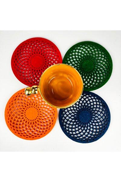 Keçe Torus Bardak Altlığı Renkli Dörtlü Paket