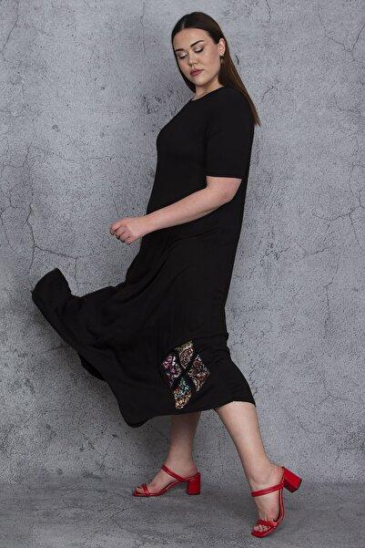Kadın Siyah Patchwork Detaylı Viskon Elbise 65N23759