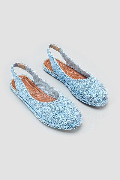 Kadın Mavi Örgü Detaylı Triko Sandalet
