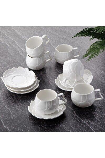 Beyaz Porselen 6 Kişilik Gül Desenli Kahve Fincan Takımı Seti