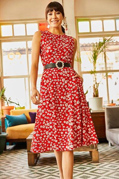 Kadın Kırmızı Yapraklı Cepli Kloş Elbise ELB-19000480
