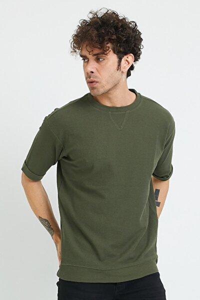 Erkek Haki Petek Örgü Oversize T-Shirt 1yxe1-44876-09