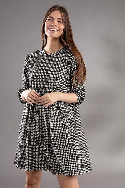 Kadın Kazayağı Desenli Günlük Elbise Y20w110-2113