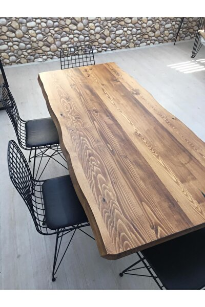 6 Kişilik Ahşap Kütük Yemek Masası Altılı Sandalye Takımı 80x160