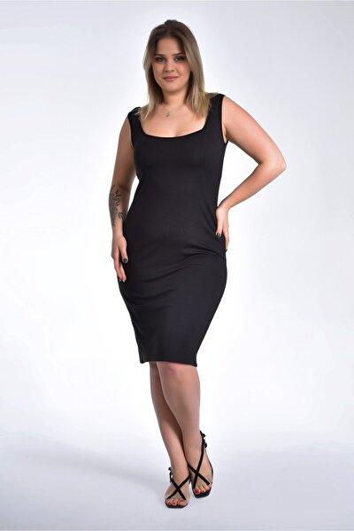 Kadın Siyah Büyük Beden Kare Yaka Askılı Yırtmaçlı Elbise