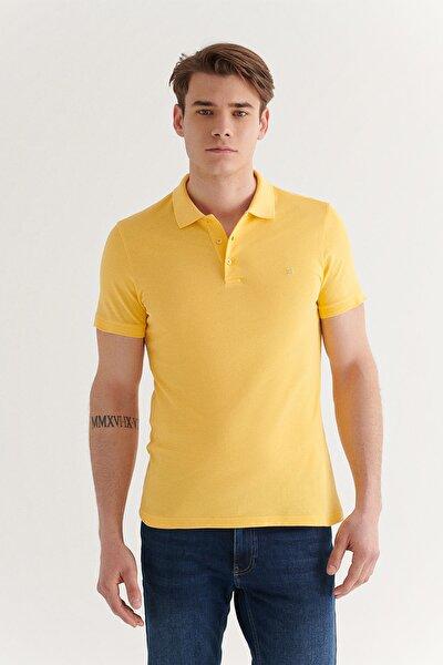 Erkek Sarı Polo Yaka Düz T-shirt E001004