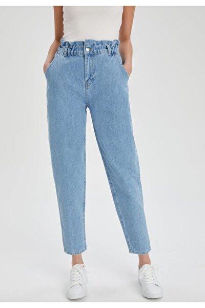 Kadın Mavi Pamuklu Yıkamalı Jeans