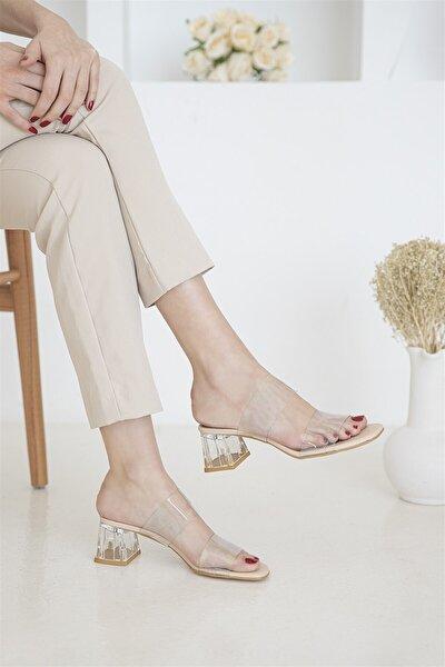 Brown Bayan Şeffaf Topuklu Sandalet Ten