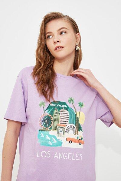 Mor Baskılı Boyfriend Örme T-Shirt TWOSS20TS0491