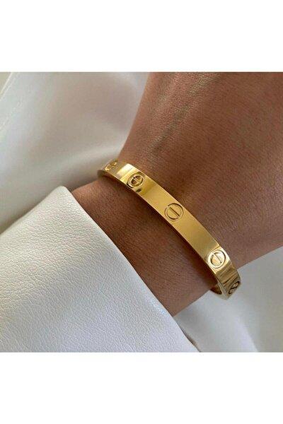 Cartier Gold Reng Taşsız Çelik 19 Cm Klipsli Kalın Bilezik Bileklik Garanti Belgeli