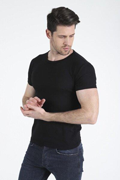 Erkek Siyah Basic Erkek Slim Fit Kısa Kollu T-shirt