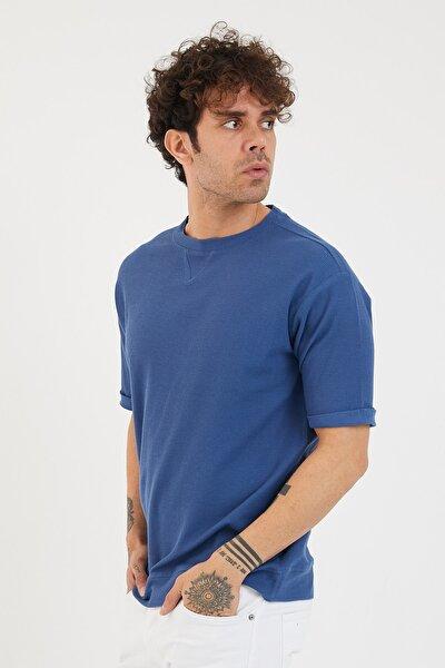 Erkek Mavi Petek Örgü Waffle Kumaş Oversize T-shirt