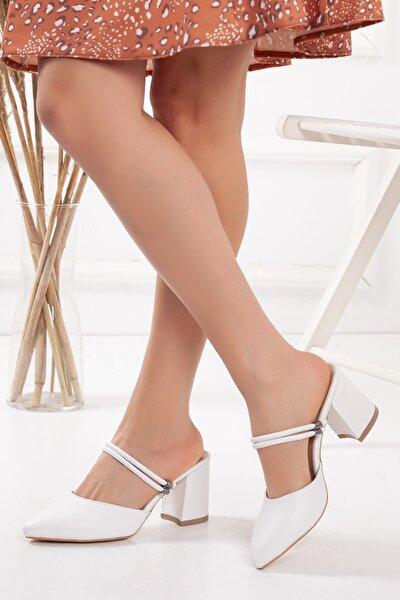 Kadın Beyaz Arkası Açık Topuklu Ayakkabı