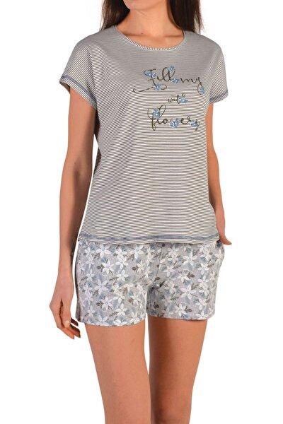 Gri Kadın Şortlu Pijama Takımı Kısa Kollu Cepli Pamuk