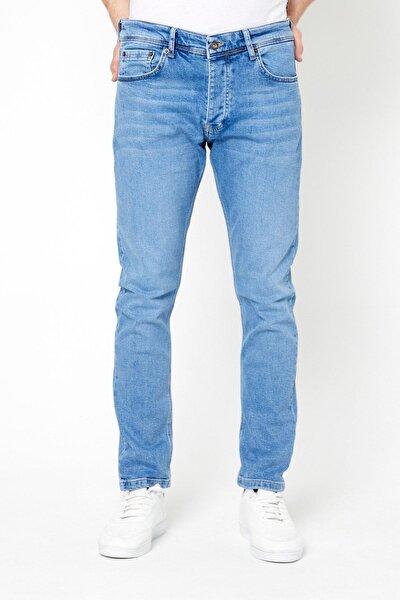 Erkek Slim Fit Jean Pantolon Açık Mavi
