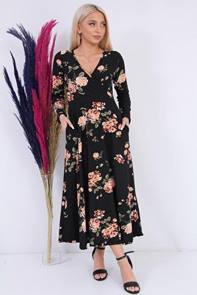 Kadın Kruvaze Yaka Çiçekli Elbise