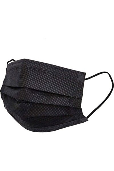 Siyah Telli 3 Katlı Tam Ultrasonik Cerrahi Maske 50 Adet Afgtekmaskblack