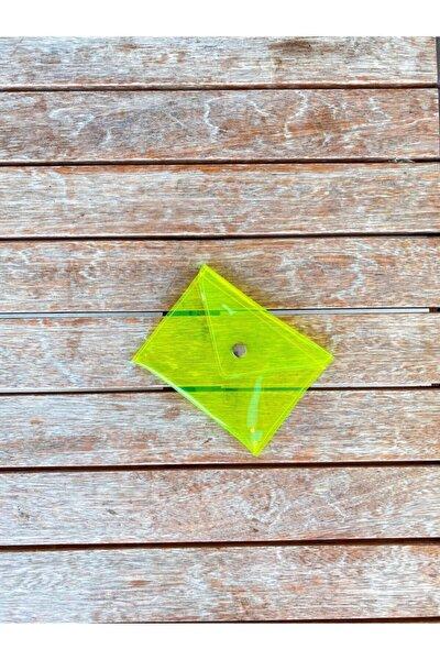 Neon Sarı Çok Amaçlı Çanta, Pvc Şeffaf Küçük Cüzdan Ve Kartlık