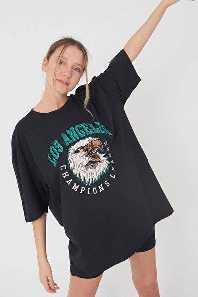 Kadın Füme Los Angeles Baskı Oversize  T-Shirt