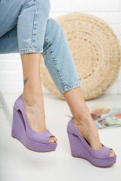 Kadın Lila Süet Dolgu Topuklu Ayakkabı