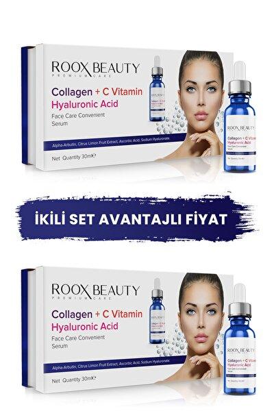 2 Adet Kolajen - C Vitamini - Hyaluronik Asit Aydınlatıcı Ve Kırışıklık Karşıtı Yüz Serumu 30 ml