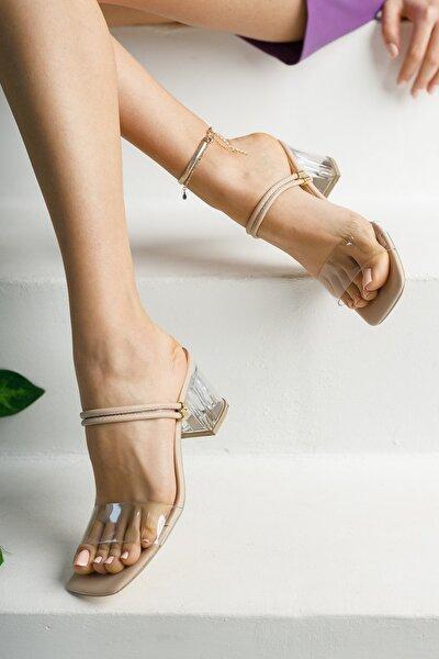 Kadın Krem Şeffaf Topuklu Ayakkabı