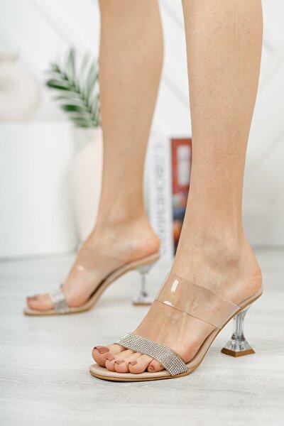 Kadın Krem Taşlı Ökçe Topuklu Ayakkabı