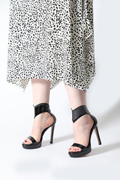 Kadın Siyah Kalın Bilek Bant Platform Abiye Ayakkabı