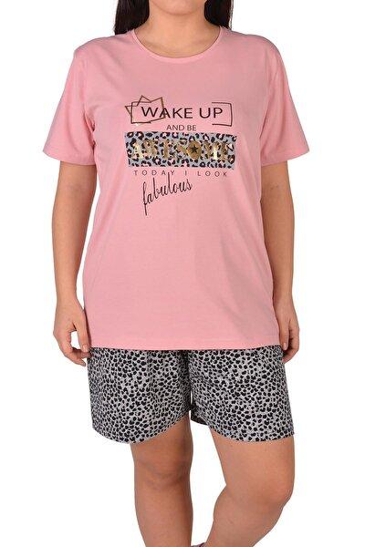 Pembe Kadın Şortlu Pijama Takımı Kısa Kollu Büyük Beden Cepli
