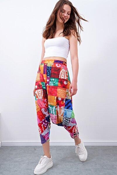 Kadın Mix Patchwork Desenli Şalvar Pantolon MDA-1179
