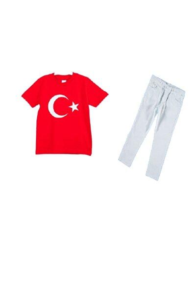 Beyaz Pantolon Ayyıldız Tişört 2 Li Takım