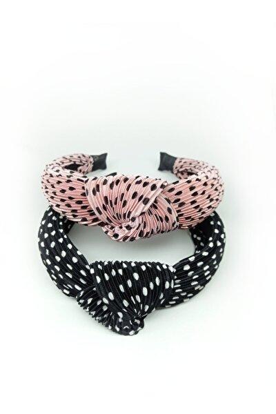 Kadın Pembe Siyah Lüx Model Düğüm Pilili Puan Desenli Taç Saç Bandı 2 Adet