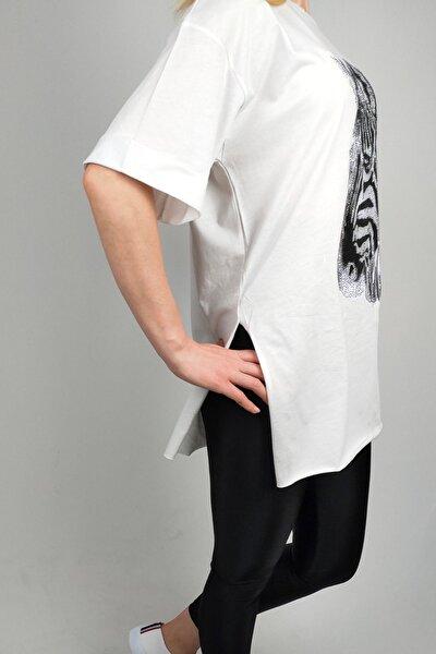Kadın Beyaz Zebra Baskılı Taş Detaylı T-shirt