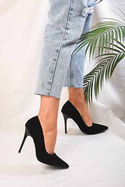 Kadin Siyah Süet Klasik Topuklu Stiletto