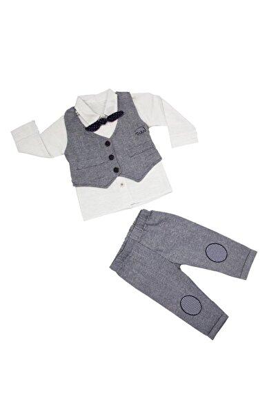 Yelek&gömlek&pantolon - Papyonlu Erkek Bebek Takım 6-12-18 Ay