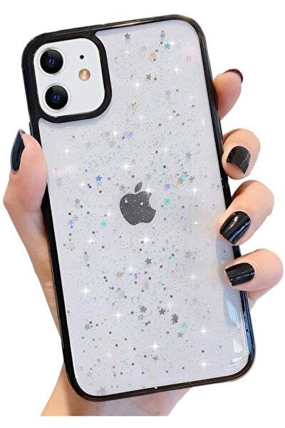 """Iphone 11 6.1"""" Kenarı Renkli Simli Darbe Önleyici Silikon Kılıf Siyah"""