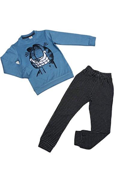 Unisex Çocuk Gök Mavi Siyah Kare Desenli Garfield Kombin Takım