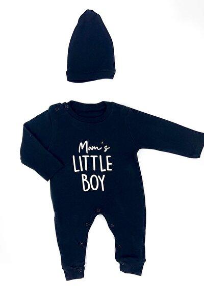 Erkek Bebek Mom's Little Boy Yazılı Bereli Tulum Set