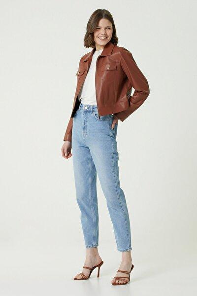 Kadın Straight Fit Mavi Yüksek Bel Pantolon 1078444