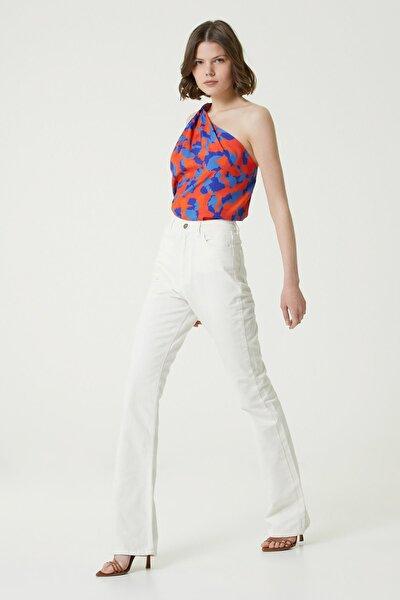 Kadın Basic Fit Beyaz Yüksek Bel Bol Paça Pantolon 1078438